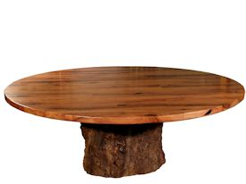 Custom face grain mesquite table top with pedestal-style base using a live oak stump.