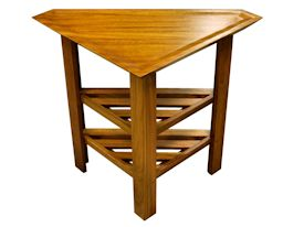 Custom small Jatoba Vanity Table with carved top and slat style shelves.  The middle shelf is adjustable.