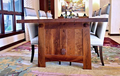 Custom face grain mesquite mission style dining table with through mortise and tenon jointery.