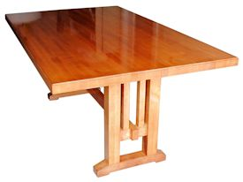 Custom hard maple (stained) Shaker Style trestle table.