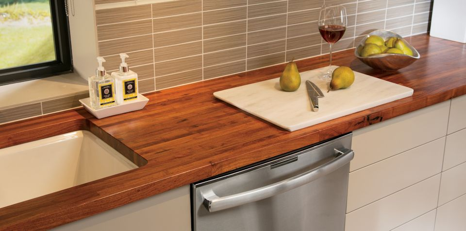 Custom Mesquite Wood Countertop with undermount sink