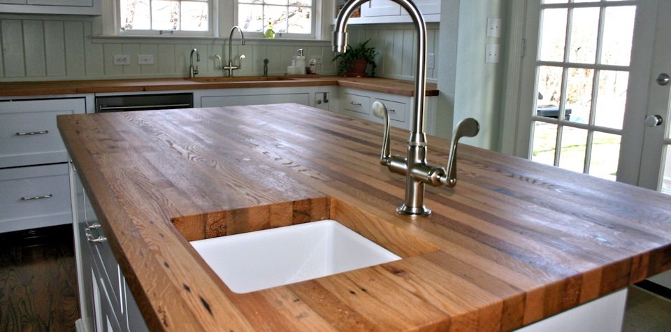Reclaimed White Oak Wood Island Countertop