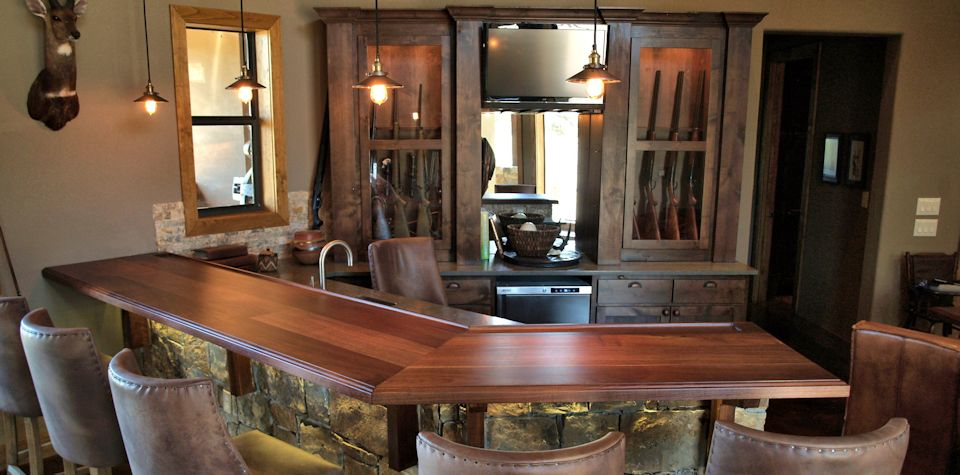 Tx Walnut Slab Bar Top with integrated drink rail