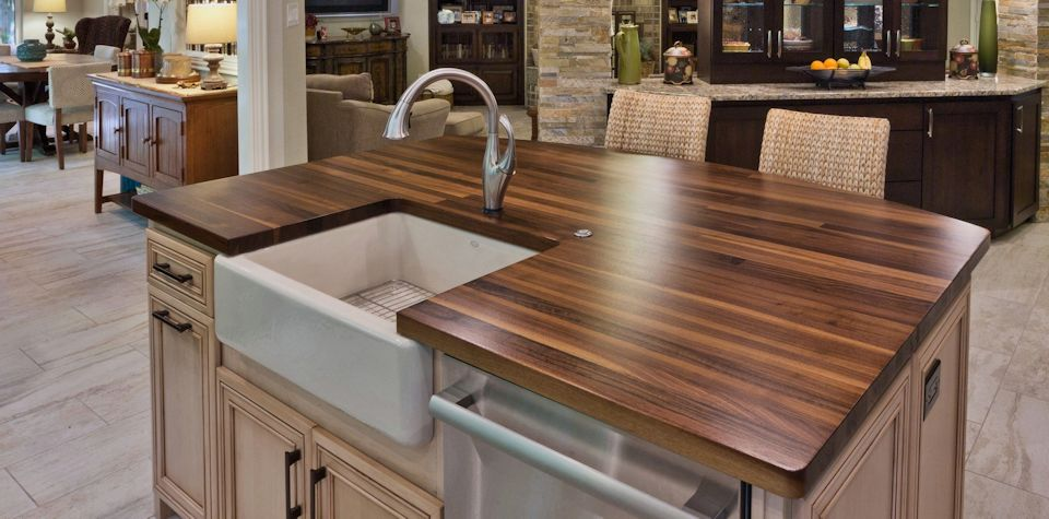 Custom Walnut Wood Island Countertop with Farm Sink