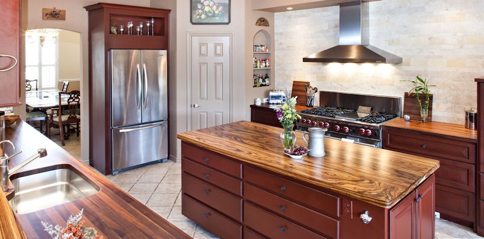 Custom Zebrawood Wood Island Countertop and Walnut Countertops