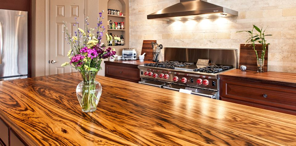 Custom Zebrawood Wood Island Countertop and Walnut Countertop